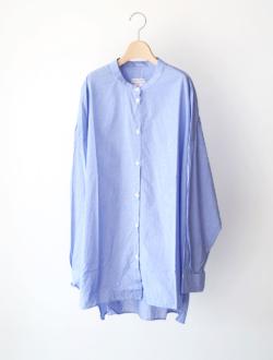 large collar band shirts  check blue