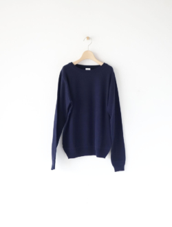 linking cotton rib boat neck knit navy