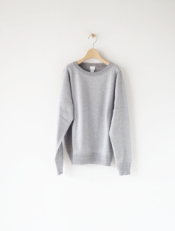 linking cotton rib boat neck knit grey