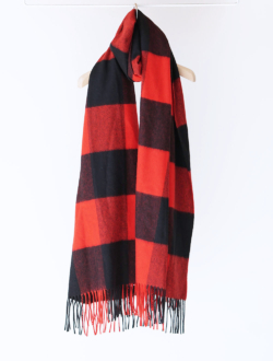 Johnstons of Elgin | cashmere stole red×black