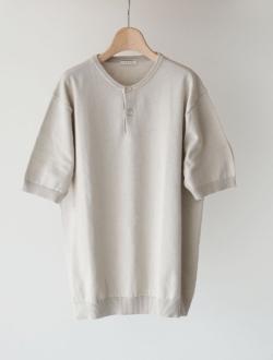 LENO | henley neck half sleeve sweater ecru