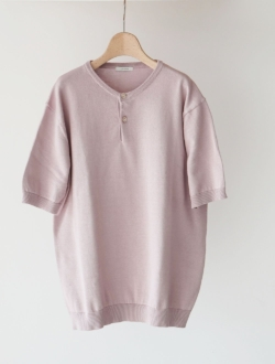 LENO | henley neck half sleeve sweater pink