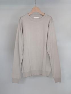 organic cotton crew neck L/S sweater  platinum のサムネイル