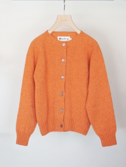 crew neck cardigan  orange